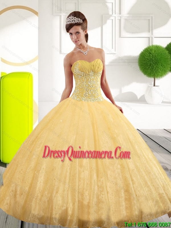 6481ad57bb8 Perfect Sweetheart Appliques Gold Sweet 15 Dresses for 2015 Spring