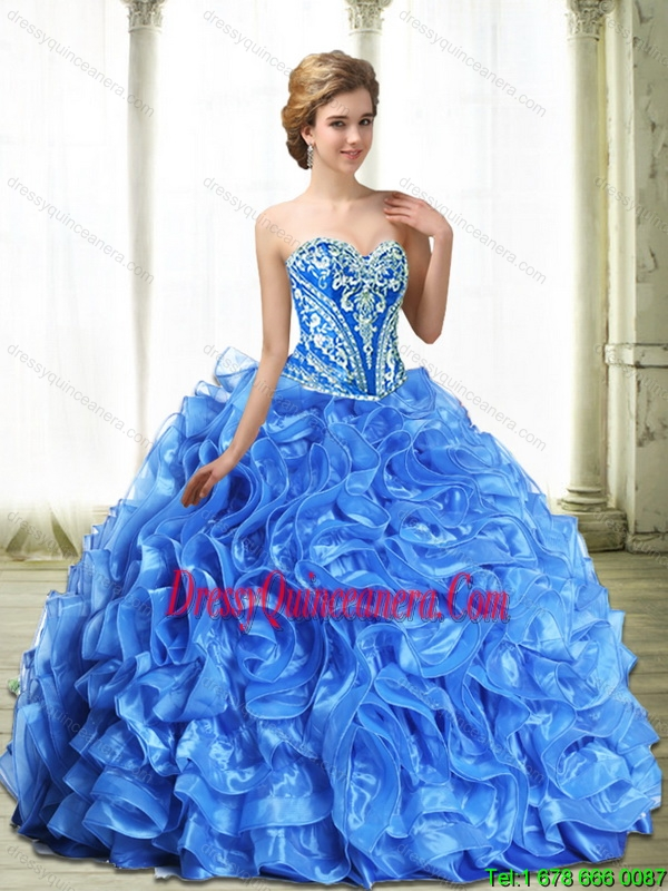 Luxurious Royal Blue Sweet 16 Dresses With Beading And Ruffles