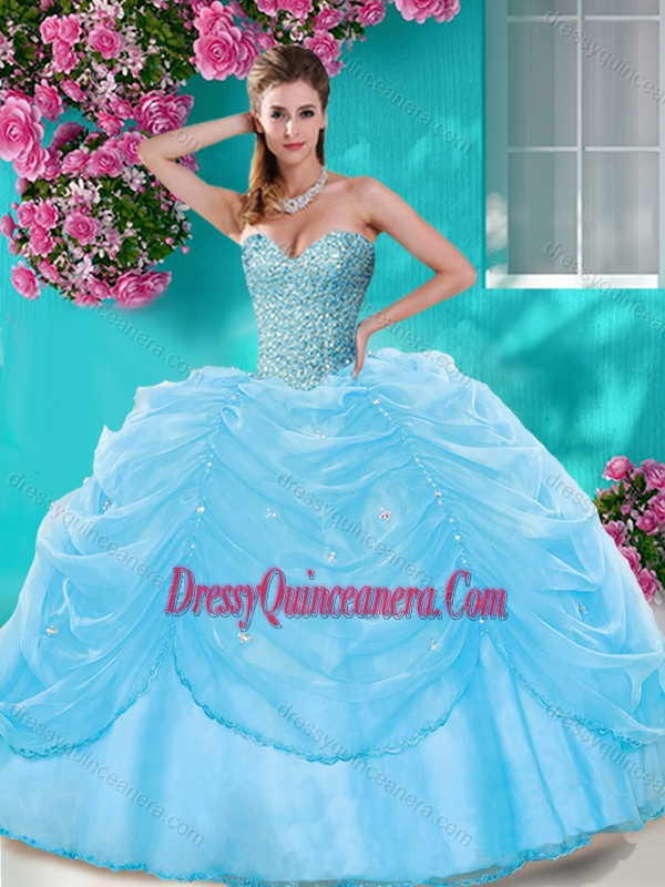 d5293d7caa6 Simple Beaded and Pick Ups Big Puffy Quinceanera Dress in Light Blue