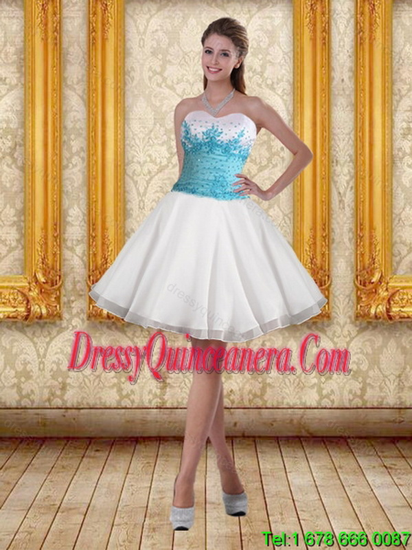 38a5c461c36 2015 Perfect Beaded Sweetheart Sweet 15 Dresses in White and Blue