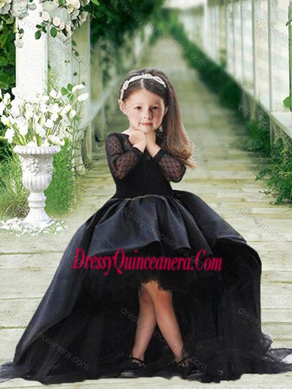 67f1dff97d0 Romantic See Through Long Sleeves Mini Quinceanera Dress in Navy Blue