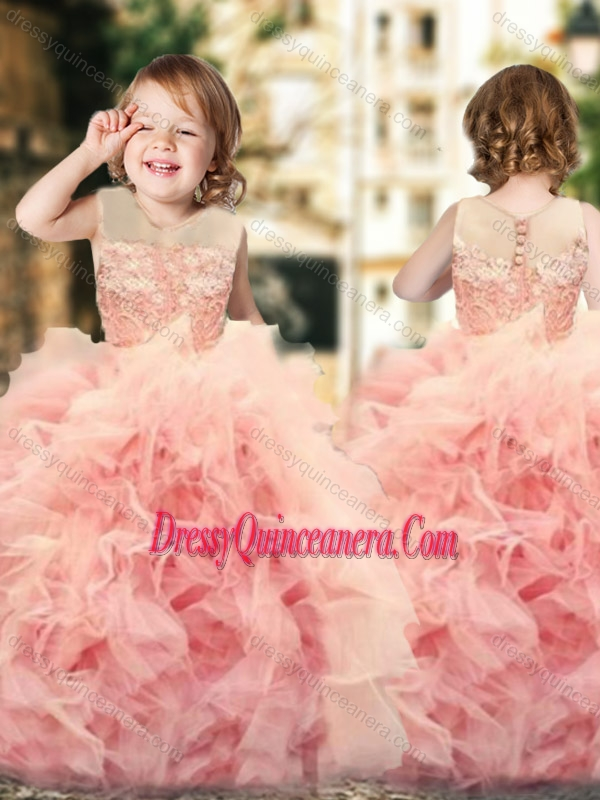 5cf61c0bd4a Wonderful Ruffled and Laced Mini Quinceanera Dress with See Through Scoop