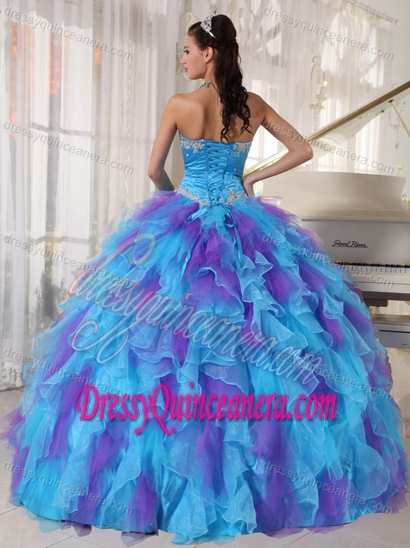 Baby Blue and Purple Strapless Organza Beaded Quince Dress with Appliques