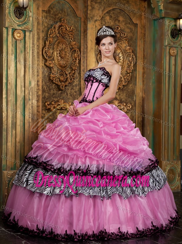 3aa8eaa2d2 Rose Pink Taffeta Quinceanera Gown Dresses with Appliques and Picks-ups
