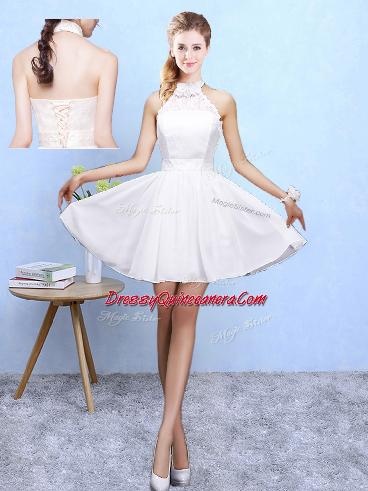 2a654d732d1 Knee Length White Quinceanera Court of Honor Dress Chiffon ...