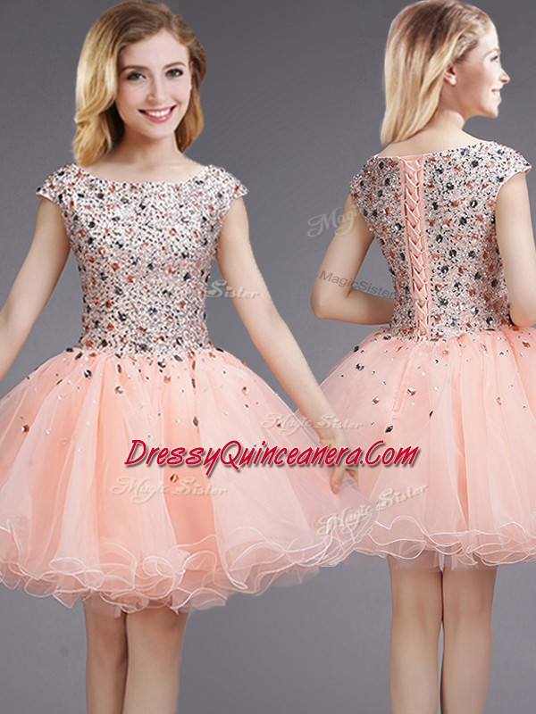 ced3fb378a9 Cap Sleeves Mini Length Beading and Sequins Lace Up Dama Dress for ...