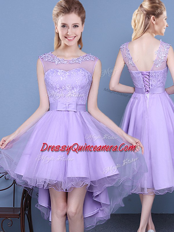 Unique Lavender Sleeveless Taffeta And Tulle Lace Up