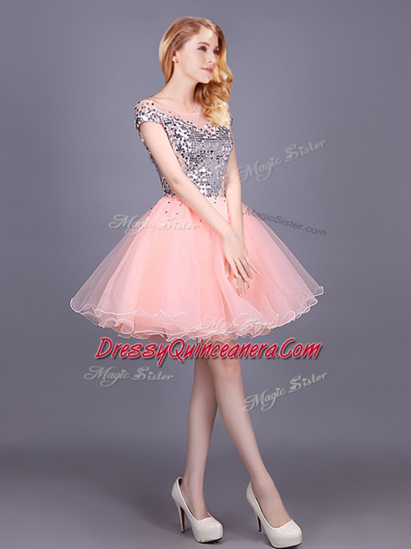 1d6123e7fd4 Dynamic Mini Length Pink Dama Dress for Quinceanera Tulle Short ...