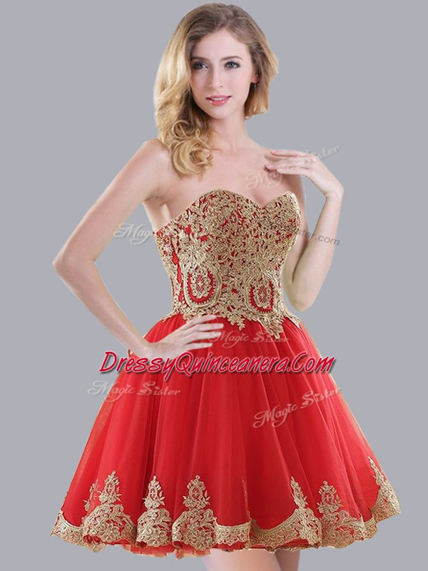 9744a1122a1 Mini Length Lace Up Quinceanera Court of Honor Dress Red for Prom ...
