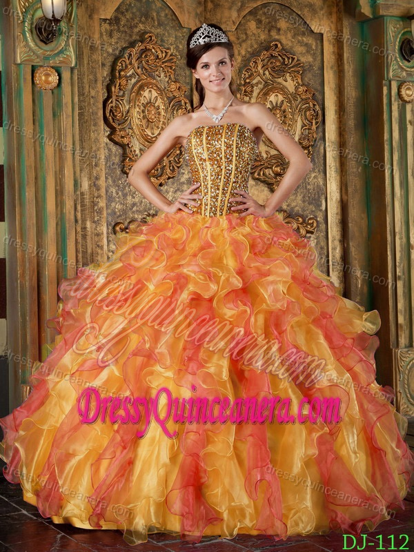 8902465e56e Multi-colored Strapless Organza Quinceanera Dress with Ruffles and Beading  on Sale