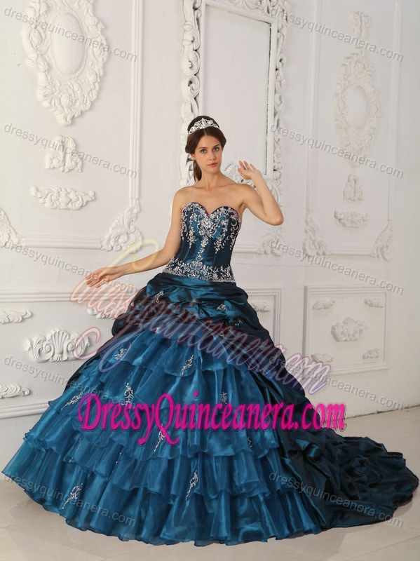 ddc3f227832 Sweetheart Brush Rain Teal Taffeta Quinceanera Dresses with Appliques and  Pick-ups