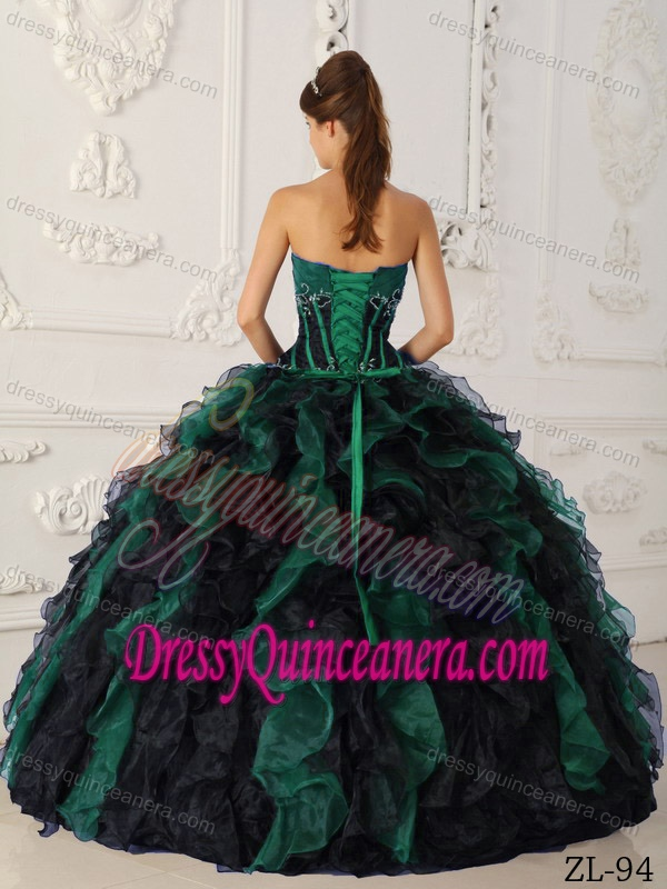 Green and Black Taffeta and Organza Beaded and Ruffled Quinceanera Dress