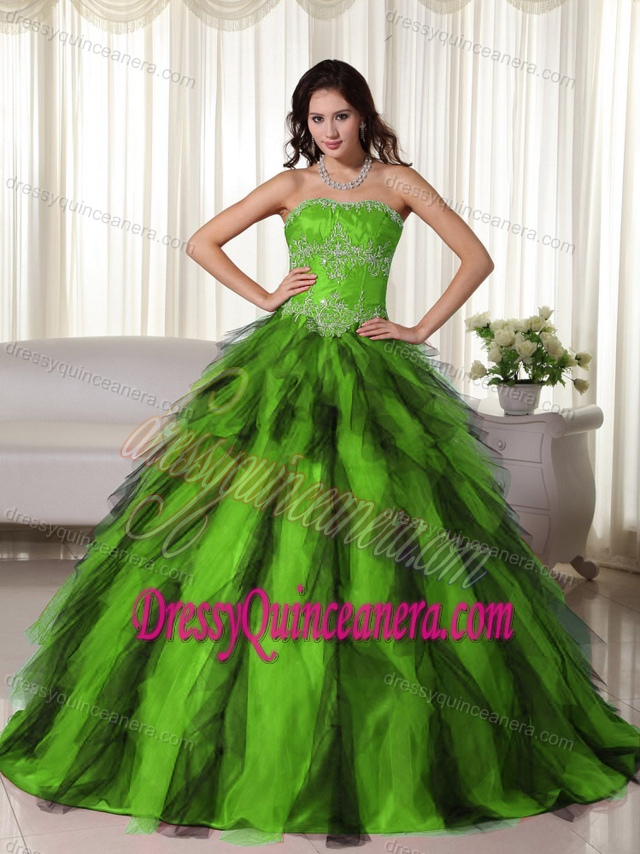 Green Lace-up Floor-length Beaded Taffeta Special Dress for Quinceanera