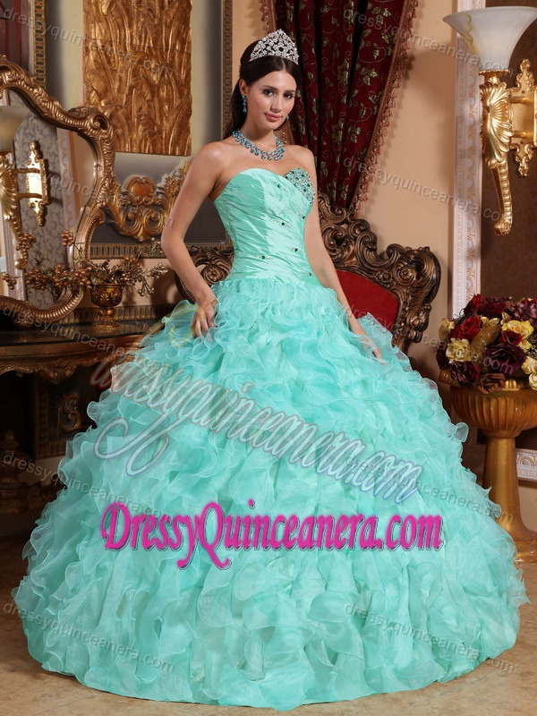 Green Sweetheart Organza Quinceanera Dress with Beading and Ruffles