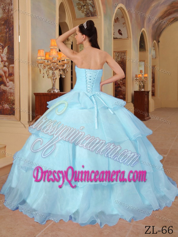 Organza Beaded Sweet Sixteen Dresses With Handle Flowers