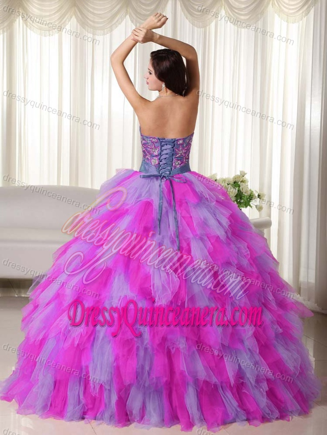 752d84c2486 Pretty Multi-colored Sweet Sixteen Quinceanera Dresses with Ruffles and  Appliques