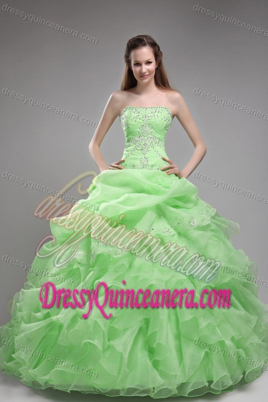 Light Green Strapless Ball Gown Organza Quinceanera Dress with ...
