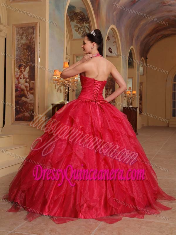 9cef13350c Halter-top Beading Sweet Sixteen Dresses with Appliques and Ruffles in  Organza
