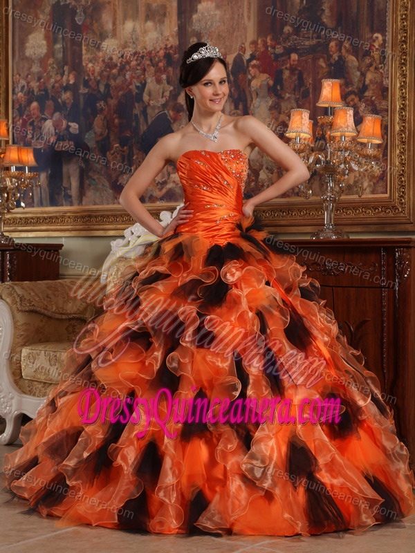 6e5a0ced3a3 Beading and Ruching Organza Sweet 16 Dresses with Ruffles in Orange and  Black
