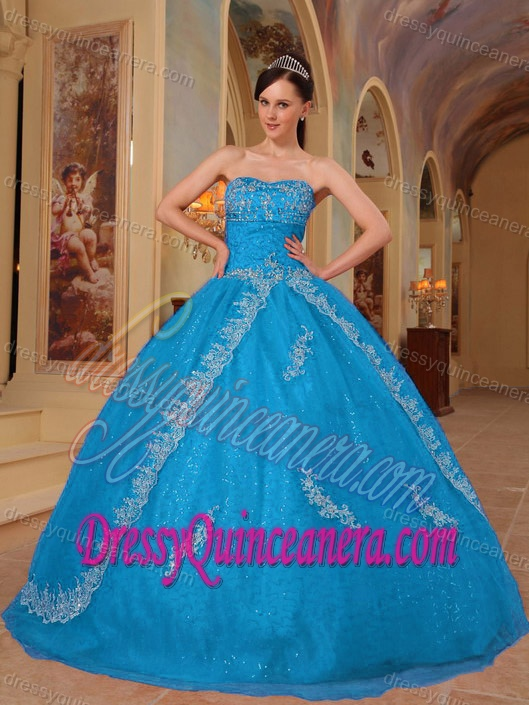 Teal Strapless Floor-length Organza Quinceanera Dress with Embroidery and Beading