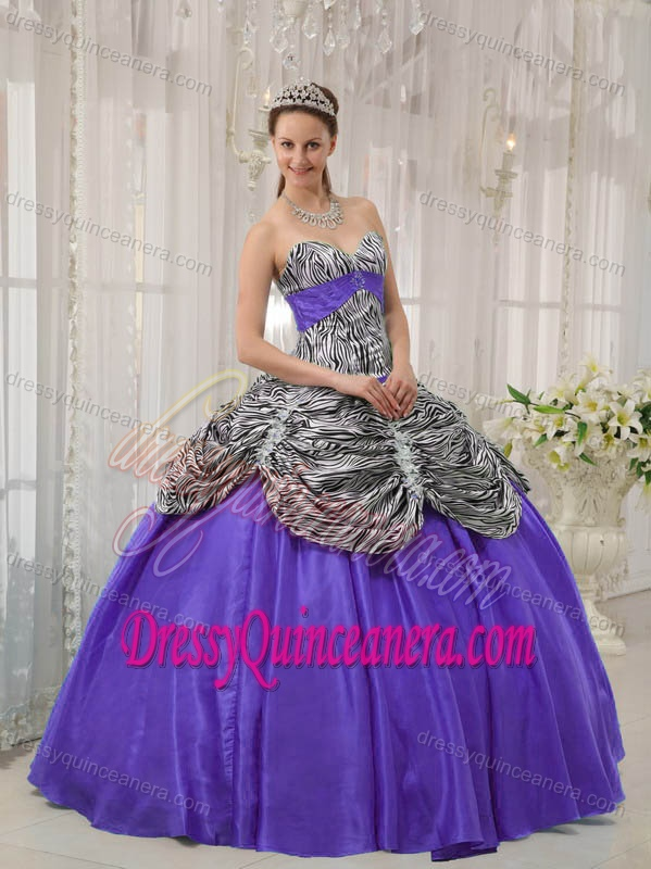 a3db7455f35 Sweetheart Zebra and Purple Taffeta Quinceanera Dress with Pick-ups and  Appliques