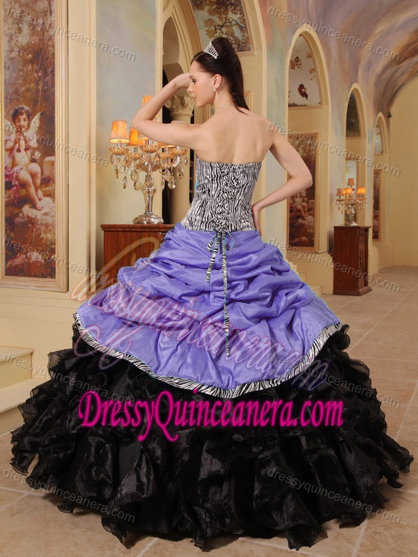 f2ce230057b Strapless Purple Taffeta Black Organza Quinceanera Dress with Pick-ups and  Zebra