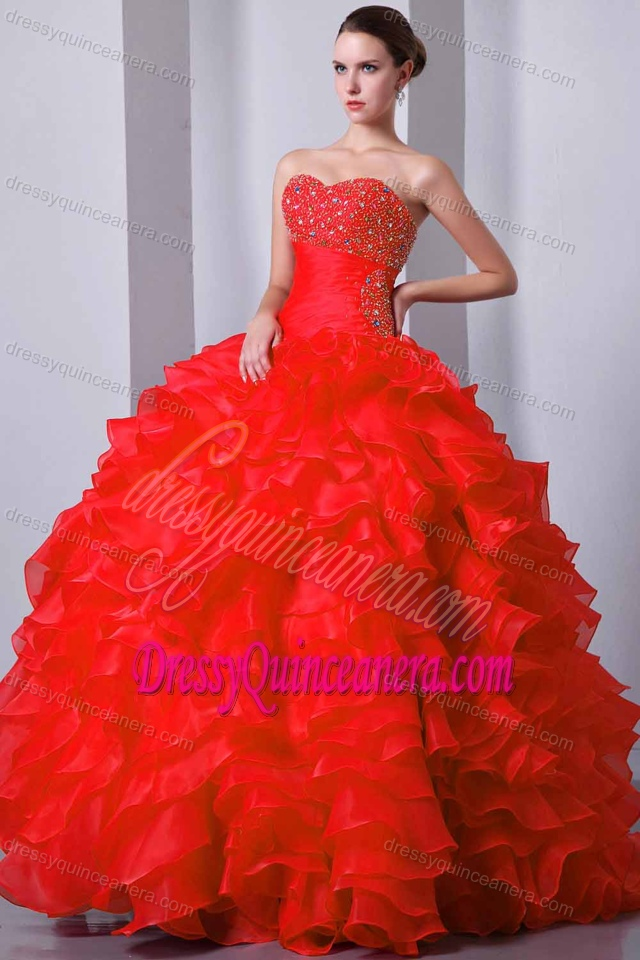 Red Lace-up Gorgeous Sweet Sixteen Quinceanera Dresses with Ruffles