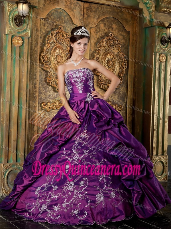 Wrap for Purple Strapless Taffeta Embroidery Sweet 15 Dresses Custom Made