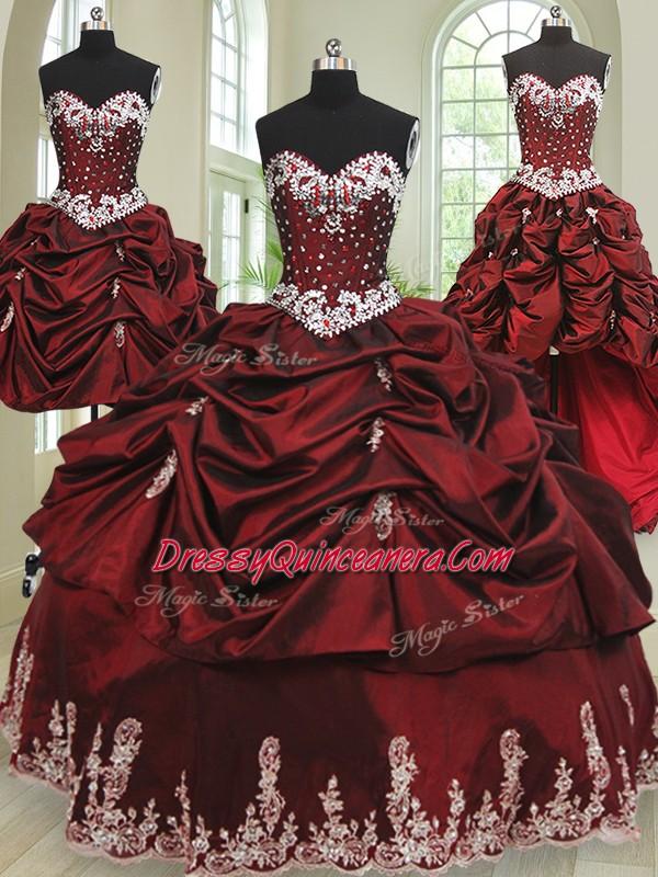 9a9bb67461 Excellent Four Piece Floor Length Wine Red Quinceanera Dress Taffeta ...