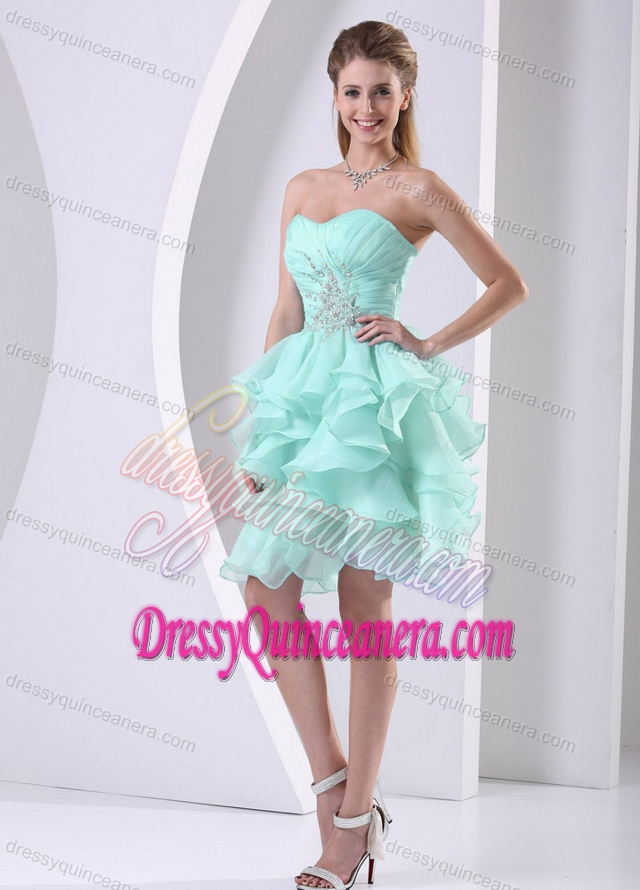 Green Discount Sweetheart Quinceanera Dama Dress with Ruffles