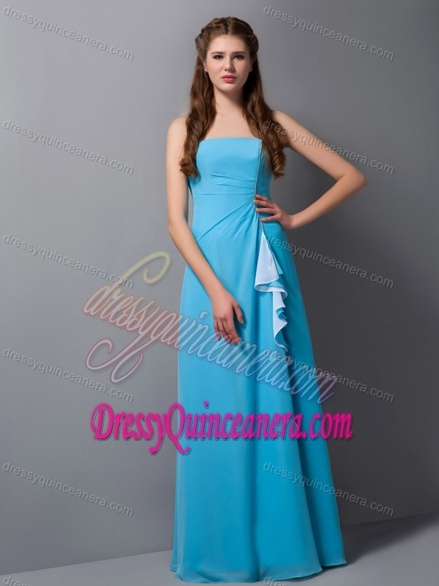 Cute Column Strapless Chiffon Quinceanera Dama Dress in Baby Blue