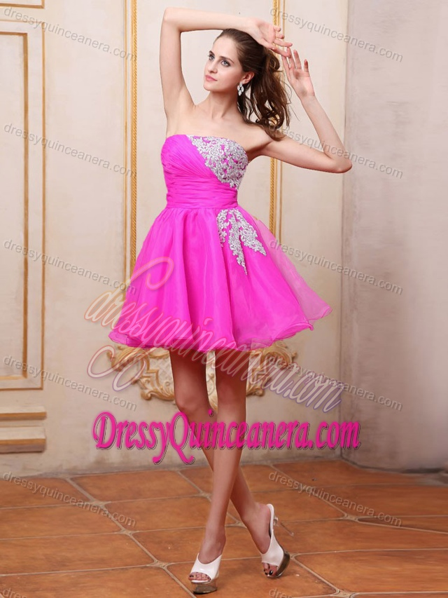 Fuchsia Appliqued Organza Short Sweet Damas Dress for Quince