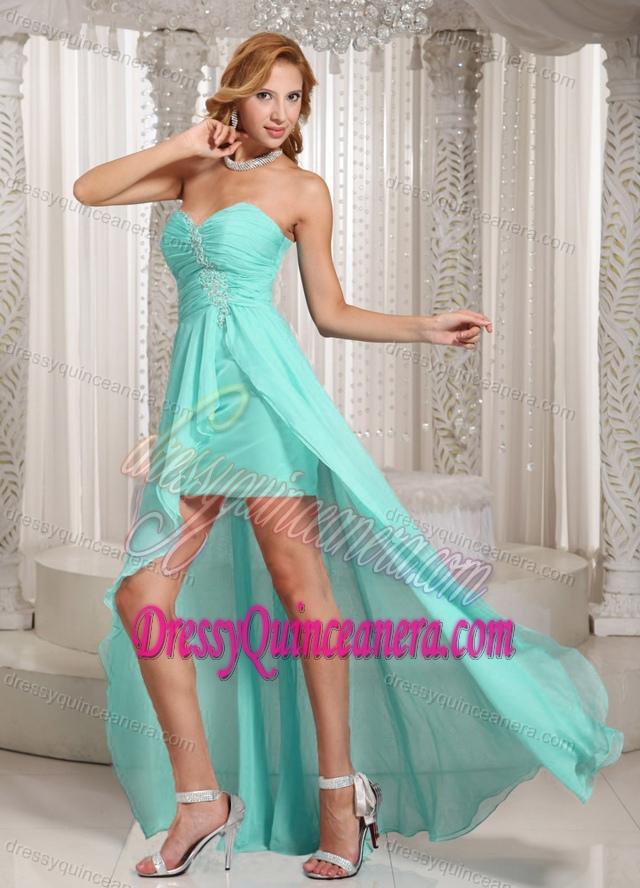 Aqua Blue High-low Sweetheart Dama Dress for Quinceanera