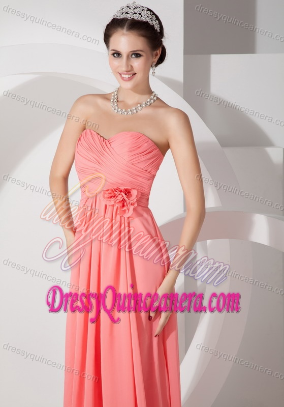 Luxurious Watermelon Chiffon Ruched Long Damas Dresses for Quince