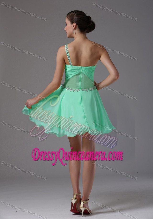 15bc756cc19 One Shoulder Apple Green Ruched and Beaded Dressy Dresses for Damas