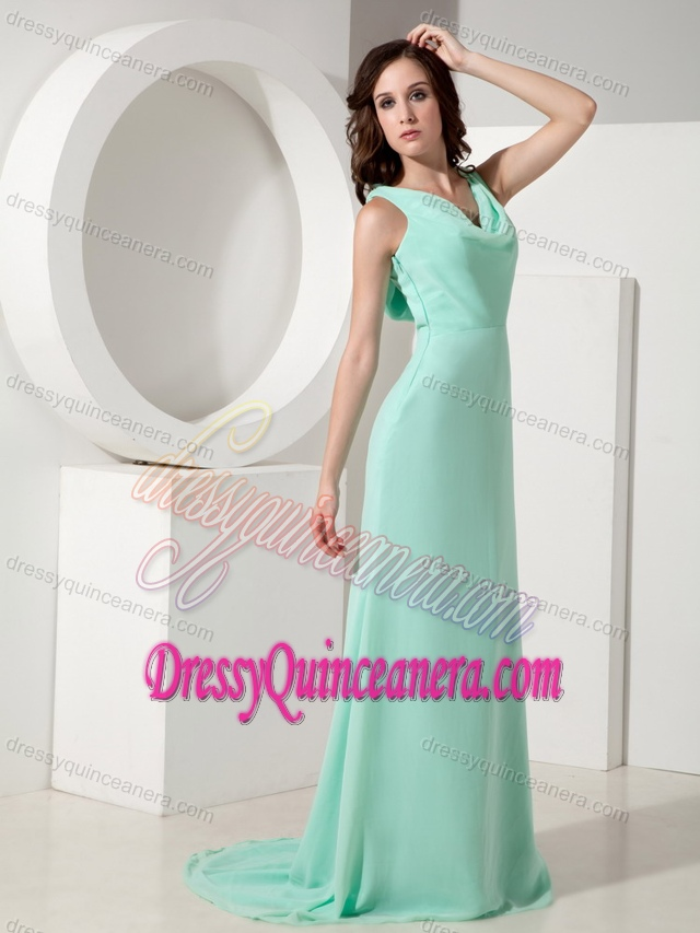 Popular Apple Green V-neck Chiffon Quinceanera Damas Dress for Fall