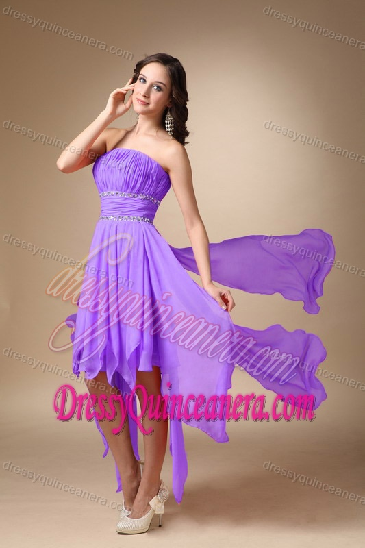 line Asymmetrical Charming Quinceanera Dama Dresses in Lavender