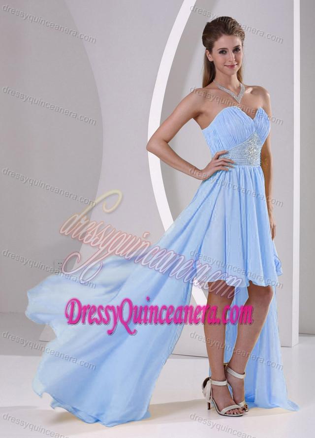 low Sweetheart Beaded Elegant 16 Dresses for Damas in Light Blue