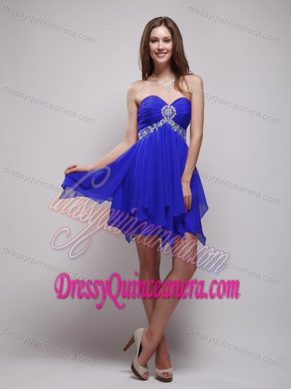 Sweetheart Royal Blue Quinceanera Damas Dress with Beading
