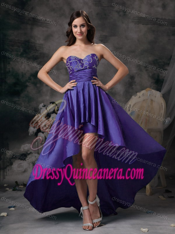 Purple Sweetheart High-low Taffeta Damas Dresses for Quince