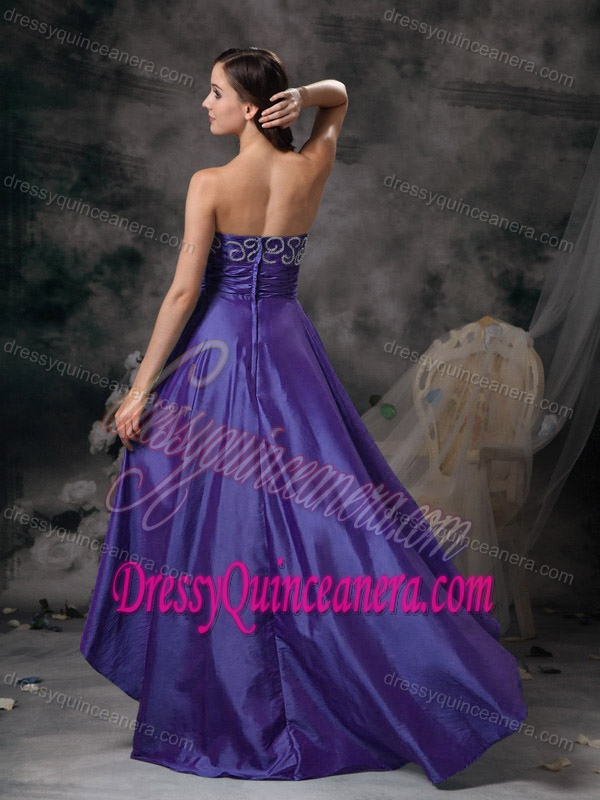 4a7fef6d0f Memorable Purple Sweetheart High-low Taffeta Damas Dresses for Quince