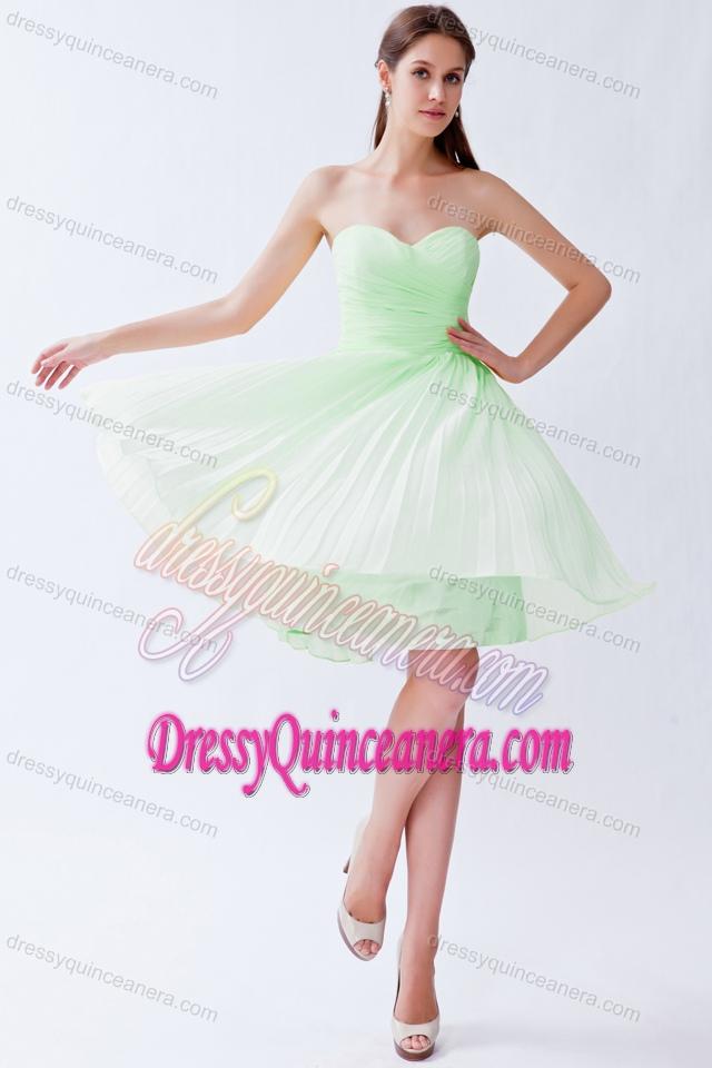 Light Green Empire Sweetheart Knee-length Chiffon Dama Dresses for ...