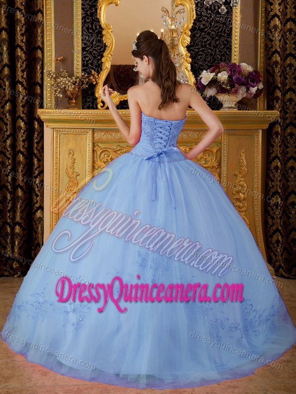 Lilac Ball Gown Sweetheart Quinceanera Gown with Appliques on Sale