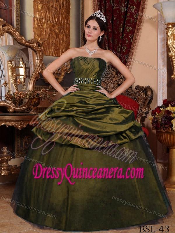 32c853e3870 Olive Green Strapless Taffeta Beading Pick-ups Quinceanera Dress