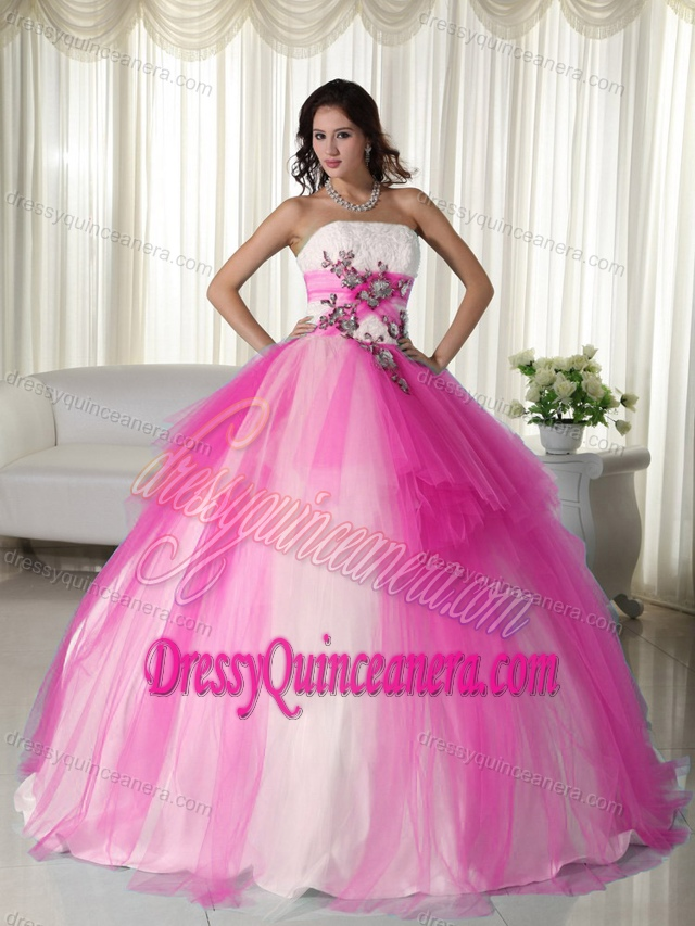Hot Pink and White Ball Gown Tulle Beaded Strapless Sweet 15 Dresses