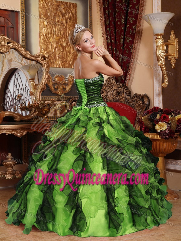 Green and Black Organza Sweetheart Dress for Quinceanera with Beading and Ruffles