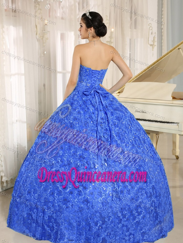 Pretty Embroidery and Sequins Decorated Sweetheart Blue Quinceanera Dress