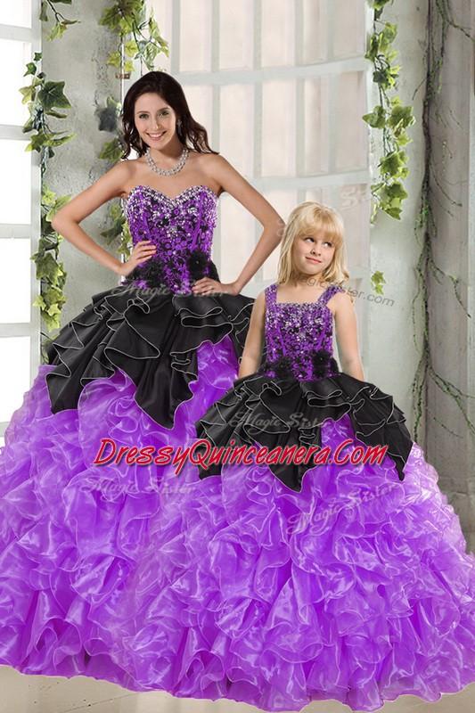 de4fe33203d Fabulous Floor Length Black And Purple 15th Birthday Dress Organza ...