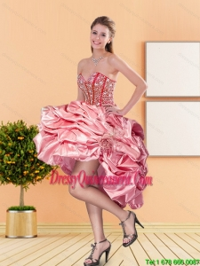 2015 New Style Sweetheart Dama Dresses with Beading and Pick Ups