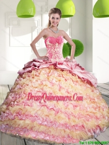 2015 Brand New Quinceanera Gown with Ruffled Layers and Appliques